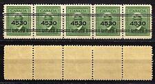 #980 - Canada - Striscia 5 pezzi 1 cent sovrastampati - Nuovi (** MNH)