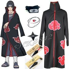 Anime Naruto Akatsuki Itachi Uchiha Deluxe Cosplay Cloak Headband Necklace set