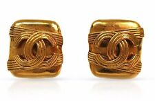 CHANEL COCO MADE IN FRANCE PREOWNED GOLD TONE BRASS CLIP EARRINGS/CARM, 23 GRAMS
