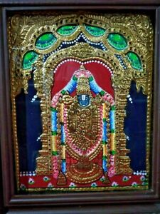Tirupati Balaji Hindu God Vishnu Tanjore Painting Thanjavur Temple Home decor