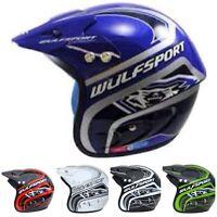 NEW WULFSPORT ACTION TRIALS HELMET Off Road Polycarbonate Open Face Helmet