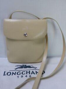 Petit sac besace pochette toile & cuir beige LONGCHAMP bag