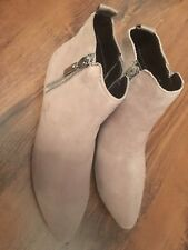 Next Brand New Size 4 Or 5 Beige Suede Look Ankle Boots With Side Zip