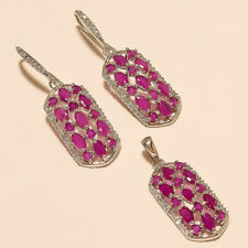 Natural Burmese Ruby Earrings Pendant 925 Sterling Silver Santa Red Jewelry Gift