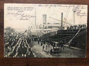 CHINA OLD POSTCARD GERMAN MARINE SHIP PATRICIA TO CHINA TO GERMANY 1914 !!