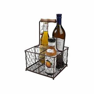 T&G Woodware Provence 4 Bottle Holder Rustic Brown Wireware Milk Wine Serving