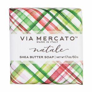 Via Mercato Italy Natale Mistletoe French Milled Shea Butter Bar Soap Gift 50g