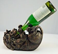 "9.75"" Long Bronze Finish Lion Wine Bottle Holder Figurine Home Decor By DWK"