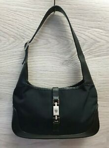 Rare Authentic GUCCI JACKIE Black Hobo Bag Fabric Canvas Leather Borsa 0013735