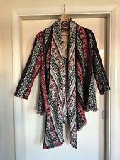 River Island L'art Aztec wool waterfall Nordic tribal coat jacket cardigan UK 14