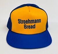 Rare Vintage Stroehmann Bread Trucker Hat, Blue Snapback Mesh Rope Cap 1980's