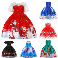 Toddler Kids Baby Girls Santa Print Princess Dress Christmas Outfits Clothes XIU