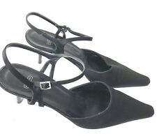 COACH Kitten Heel Cleo Sz 7 B Satin Pumps Black Strappy Shoes Made In Italy