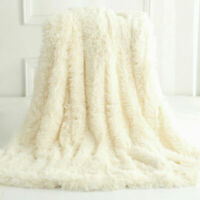 Reversible Faux Fur Blanket Soft Warm Fluffy Bed Sofa Throw Large Long Shaggy UK