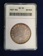 1827 Capped Bust Silver Half Dollar Square Base 2 Variety ANACS AU50 M1527