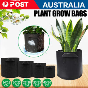 AU Pack of 10 Fabric Grow Pots Breathable Planter Bags 1/3/5/7/10 Gallon Bags