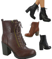 Women's Round Toe High Heel Lace Up Combat Ankle Booties Shoes Size 5.5 - 11 NEW