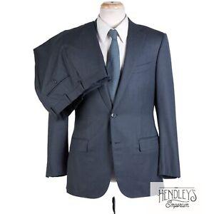 Current ERMENEGILDO ZEGNA Suit 40R SLIM Steel Blue Tonal Stripe Wool-Silk Trofeo