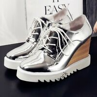 Fashion Women Flat Platform High Wedge Heel Lace Up Breath Sneakers Casual Shoes