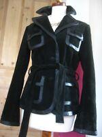 UK 14 12  Ladies NEXT black real leather suede belted JACKET BLAZER smart DJ TUX