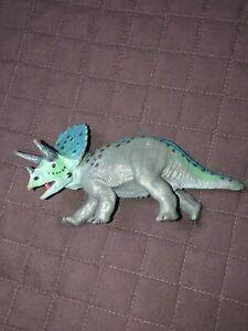 "Rare Safari LTD Plastic Triceratops Dinosaur Blue Figure 1986 3"" Tall 6"" Long"