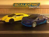 Scalextric Digital Lamborghini Aventador & Bugatti Veyron Twin Pack Brand New