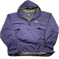VTG 90s Tommy Hilfiger Outdoors XXL Flag Packable Anorak Windbreaker Rain Jacket