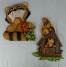 Dart Inc | MCM Wall Art 2 Pc Racoon & Squirrels in Tree House Mid Century USA