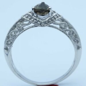 Valentine's Day Smokey Quartz Topaz Real Diamonds Filigree Ring 14k White Gold