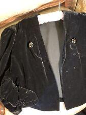 30's Silk Velvet Chiffon Lined Jacket. Gathered Sleeve