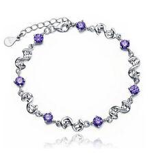 Purple Charm braclets For women Silver plated Bracelets & Bangles Bracelet B2J6