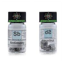 Antimonio metallico elemento 51 Sb, 5 grammi 99,9% in vial con etichetta