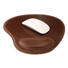Londo Leather Oval Mouse Pad with Wrist Rest, Dark Brown