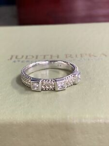 Judith Ripka 925 Sterling Silver 3 Square CZ Stone Ladies Ring Size 10