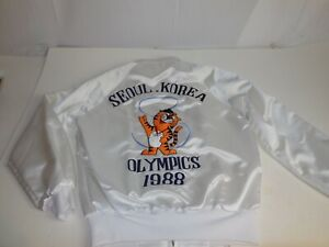 B3 Vtg 1988 Olympics Seoul Korea White Bomber Jacket Sz S Mascot Tiger Hodori