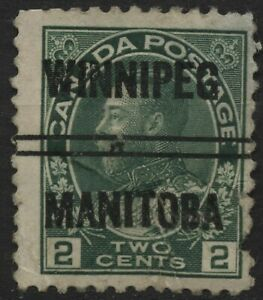 Canada (Winnipeg-3-107) 2c green KGV admiral style 3 (bar break variety) Precanc