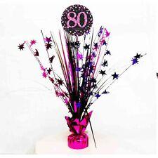 80th anniversaire Spray Pièce maîtresse table décoration noir rose violet