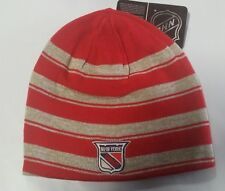New York Rangers Knit Beanie Toque Winter Hat Skull Cap NHL Striped Reversible