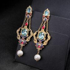 Boucles d'oreilles Chandelier Renaissance Filigrane Mini Perle Bleu Long XX30