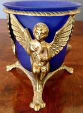 Vintage 1900's Bronze w/Gold Gilding Stand w/Cobalt Blue Glass Candle Holder+