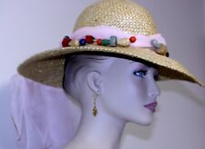 vintage WOMAN's HAT natural straw wide brim pink nylon scarf wood bead necklace