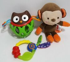 Lot of Baby Toys Skip Hop Owl Squeezy Rattle Plush Monkey Taggies Teether EUC