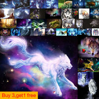 5D Full Drill DIY Diamond Painting Embroidery Cross Crafts Stitch Kit Decor Wolf