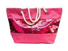 XXL Damentasche Strandtasche Sommer Tasche Badetasche Pailletten Pink Strand Neu