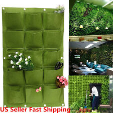 15 Pocket Wall Hanging Garden Planter Bag Indoor Outdoor Vertical Herb Pot  Green