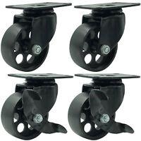 """4 All Black Metal Swivel Plate Caster Wheels w/ Brake Lock Heavy Duty (3"""" Combo)"""
