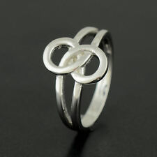 Genuine 925 Sterling Silver Double Band Infinity Ring - Size N 1/2