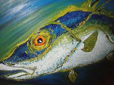 ORIGINAL OIL PAINTING HOG FISH OIL PAINTING BIG GAME FISH BY ANN SUSAN ELMER