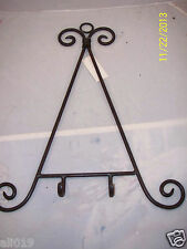 """Iron Plate Rack for Wall  19"""" Scroll Design Brown  Heavy Duty"""