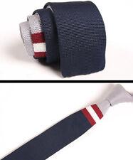 Men's Necktie Navy Blue Striped Tie Knit Knitted Slim Skinny Party Woven ZZLD037